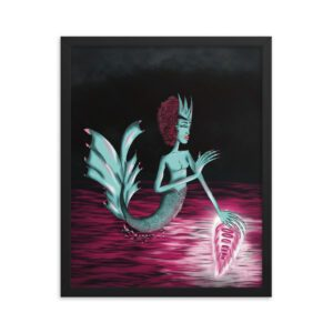 Teal mermaid goddess shooting an orb of light out her left palm into the purple ocean