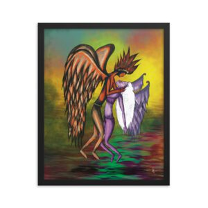 Matte framed poster of two angels in love hovering over a lake of fire